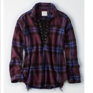 Lace up Flannel Shirt